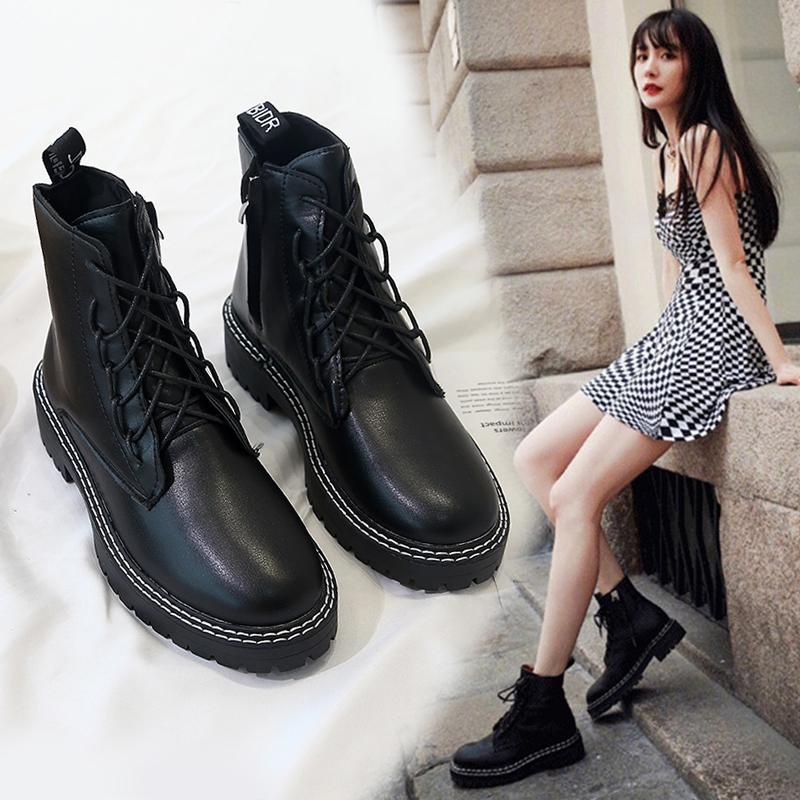 2019秋季杨幂同款鞋子马丁靴女透气厚底靴子帅气机车英伦风短靴潮