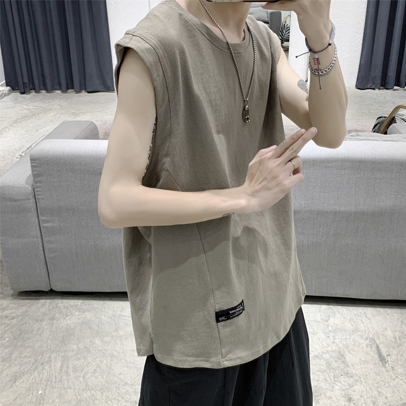 Men's waistband summer loose sleeveless T-shirt trend personality fashion brand vest ins sports summer vest