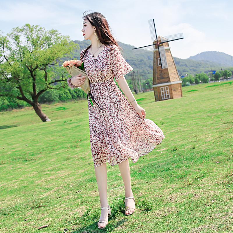 2020新款夏装韩版女装收腰显瘦气质中长款碎花雪纺连衣裙女温柔风