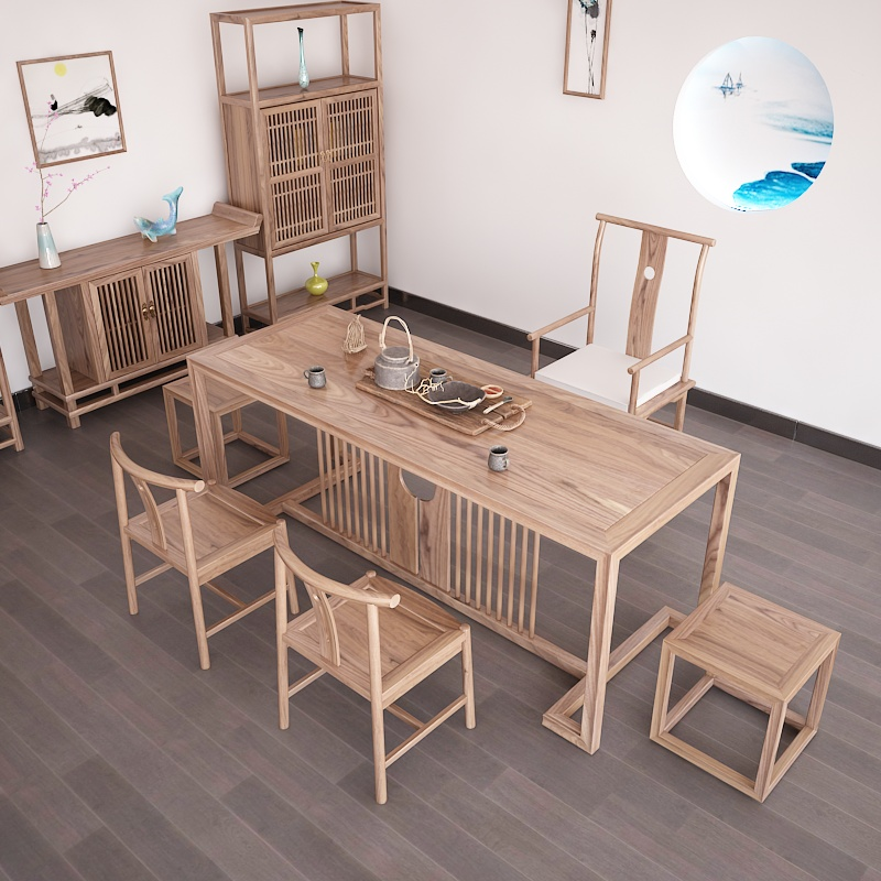 New Chinese style tea table and chair combination old elm solid wood furniture tea art table and chair tea ceremony log Zen tea room tea table