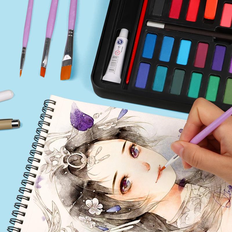 乔尔乔内水彩颜料固体36色套装初学者画笔手绘水粉颜料学生留白液
