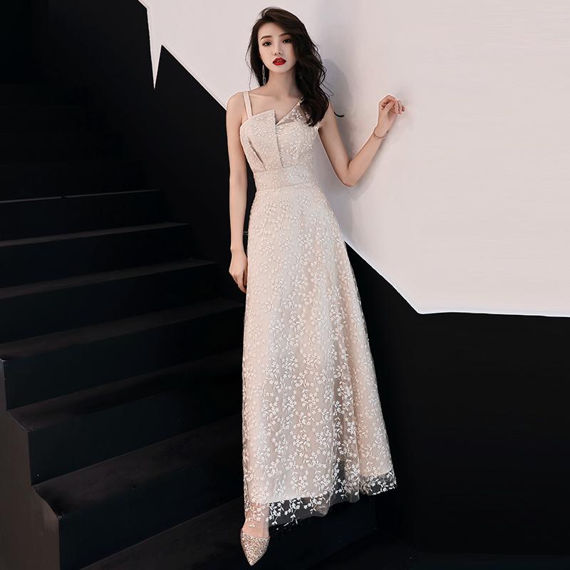 2019新款简单大方香槟色长款主持人气质宴会晚会小晚礼服连衣裙女