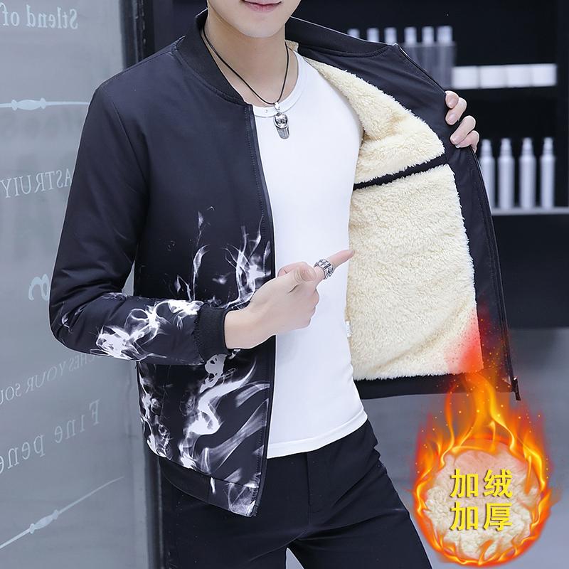 男士外套秋冬季2017新款加绒加厚夹克韩版个性潮流修身帅气外衣服