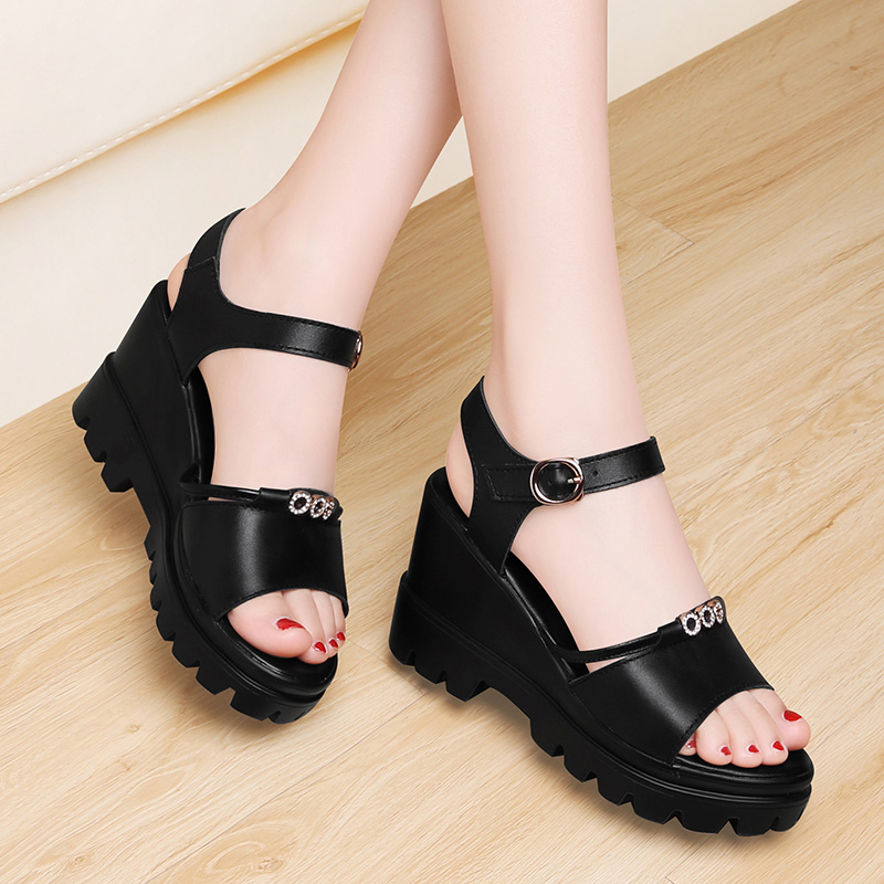 Slope heel leather sandals womens head layer cow leather thick bottom summer 2020 new waterproof platform not tired feet high heel Muffin