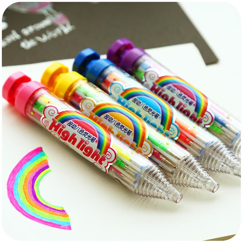 8合1多色按动闪光笔荧光笔炫彩多色彩色画笔贺卡笔黑卡纸笔相册笔