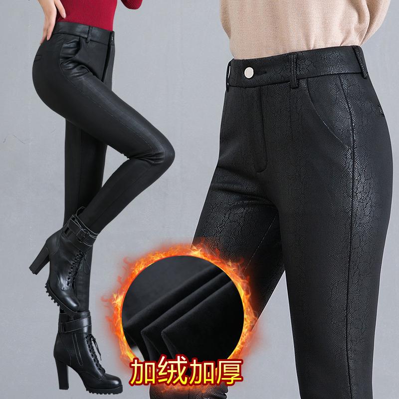 10月10日最新优惠2019秋冬装中年女裤加绒大码皮裤