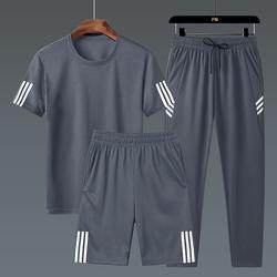 运动套装男夏季短袖短裤速干T恤宽松透气健身跑步休闲运动服大码