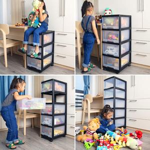 塑料收纳箱衣服儿童玩具零食透明整理储物抽屉式家用杂物收纳柜子