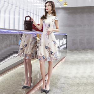 领5元券购买改良版旗袍连衣裙2019新款夏款女夏低领时尚新式中国风少女年轻款