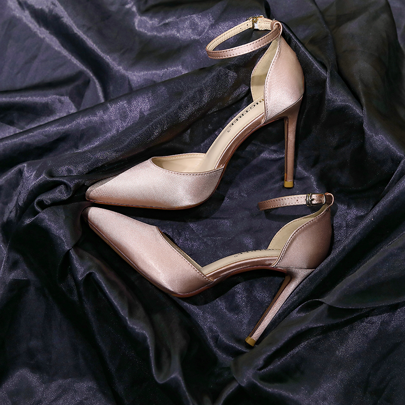 Little fresh French word girl silk satin high heeled shoes thin heel pointed versatile with hollow single shoes wedding shoes girl
