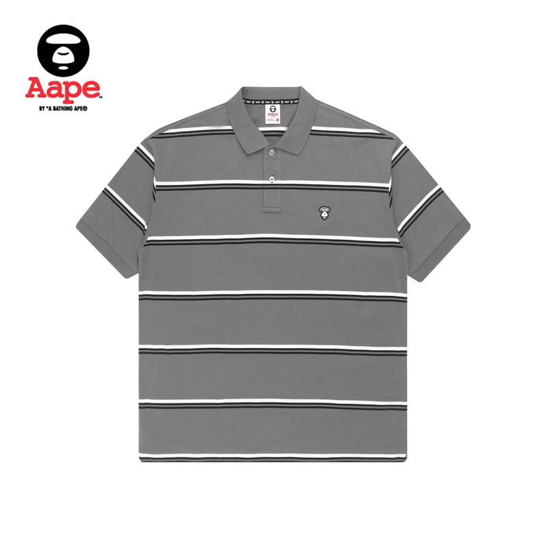 Aape男装春夏猿颜小标字母印花条纹POLO衫0719XXG