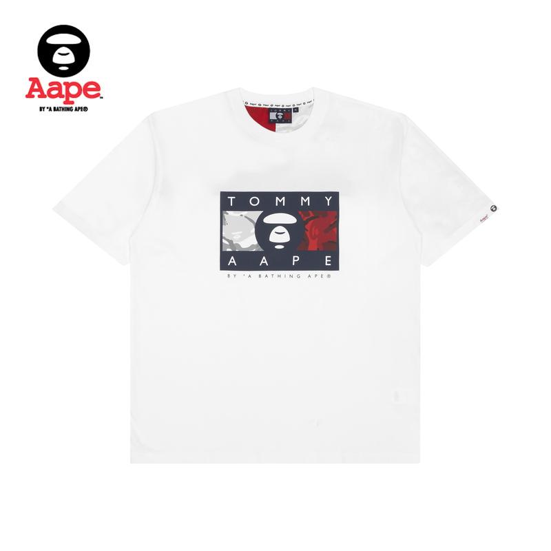 TOMMY JEANS x AAPE猿颜字母印花迷彩撞色拼接短袖T恤9398XXE
