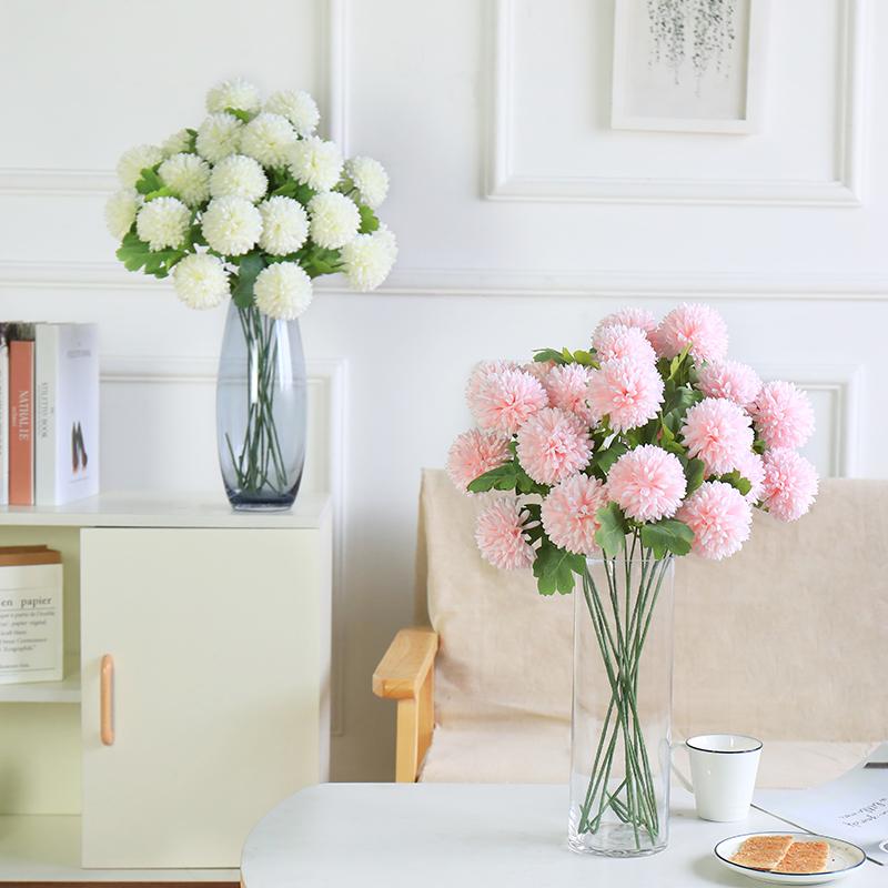 仿真绣球花蒲公英玫瑰花束客厅落地装饰干花假花绢花插花摆件花瓶热销685件正品保证