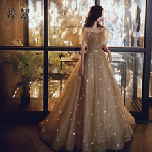 Dress, dress, banquet temperament, 2019 new noble evening dress, birthday party dress, starry sky, can be worn at ordinary times