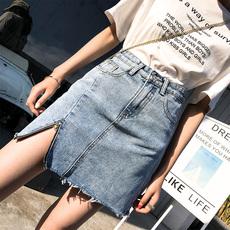 ins超火的半身裙牛仔短裙女夏2019新款不规则高腰包臀泫雅同款a字