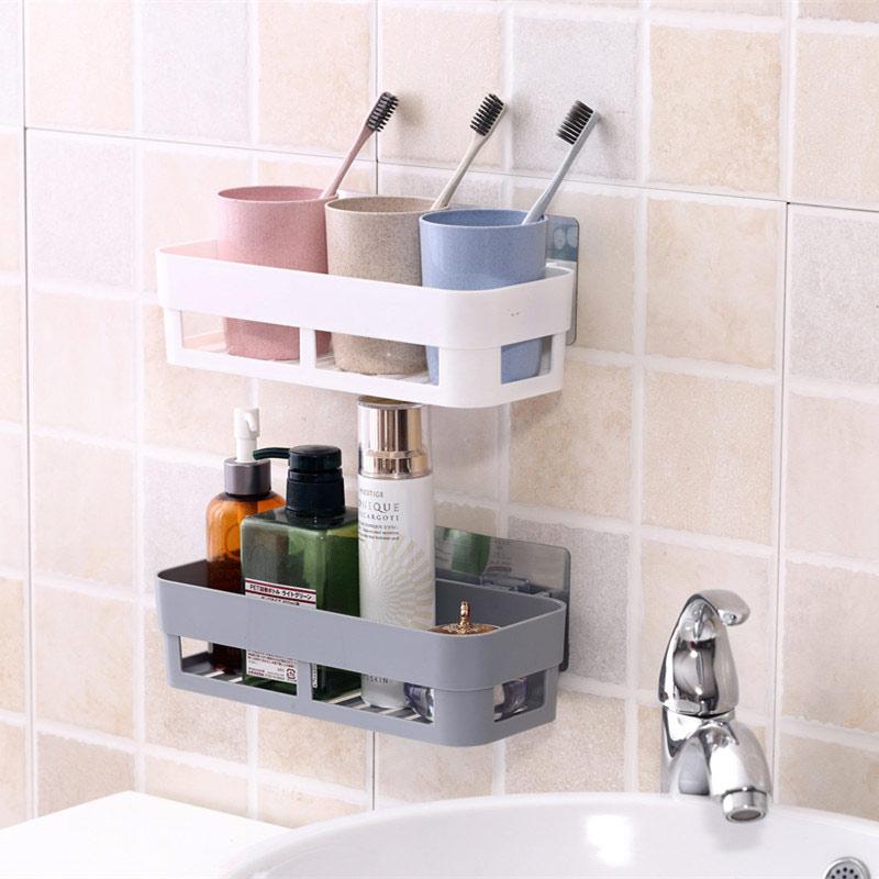 吸壁式浴室置物架卫生间墙壁挂免打孔厕所吸盘洗手间洗漱台收纳盒