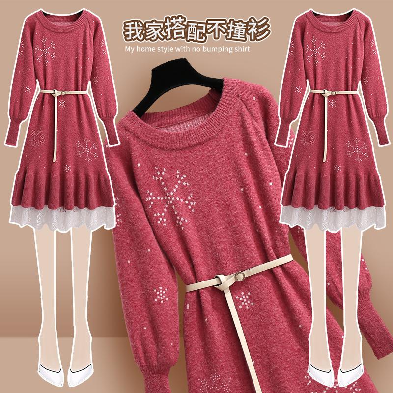 红色针织连衣裙秋冬季收腰毛衣裙子
