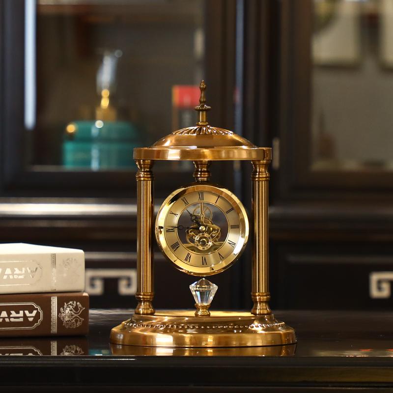 轻奢美式钟表桌面时钟座钟创意坐钟台钟客厅复古卧室摆钟台式 Изображение 1