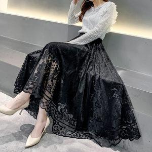 镂空花纹蕾丝半身裙女春夏高腰中长款仙女a字大摆裙百搭网纱裙子