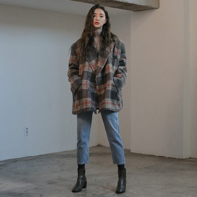 Plaid tweed new Korean fashion casual mid length thickened retro overcoat for women in winter 2019