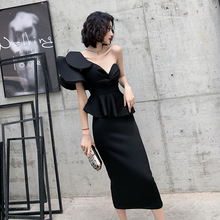 Black tuxedo 2019 new noble one shoulder party birthday party dress high-end temperament can be worn by women at ordinary times