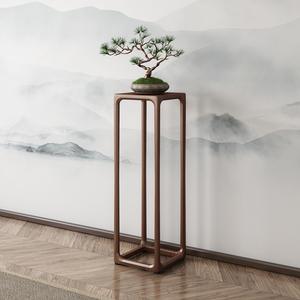 新中式实木胡桃木花架子客厅置物架