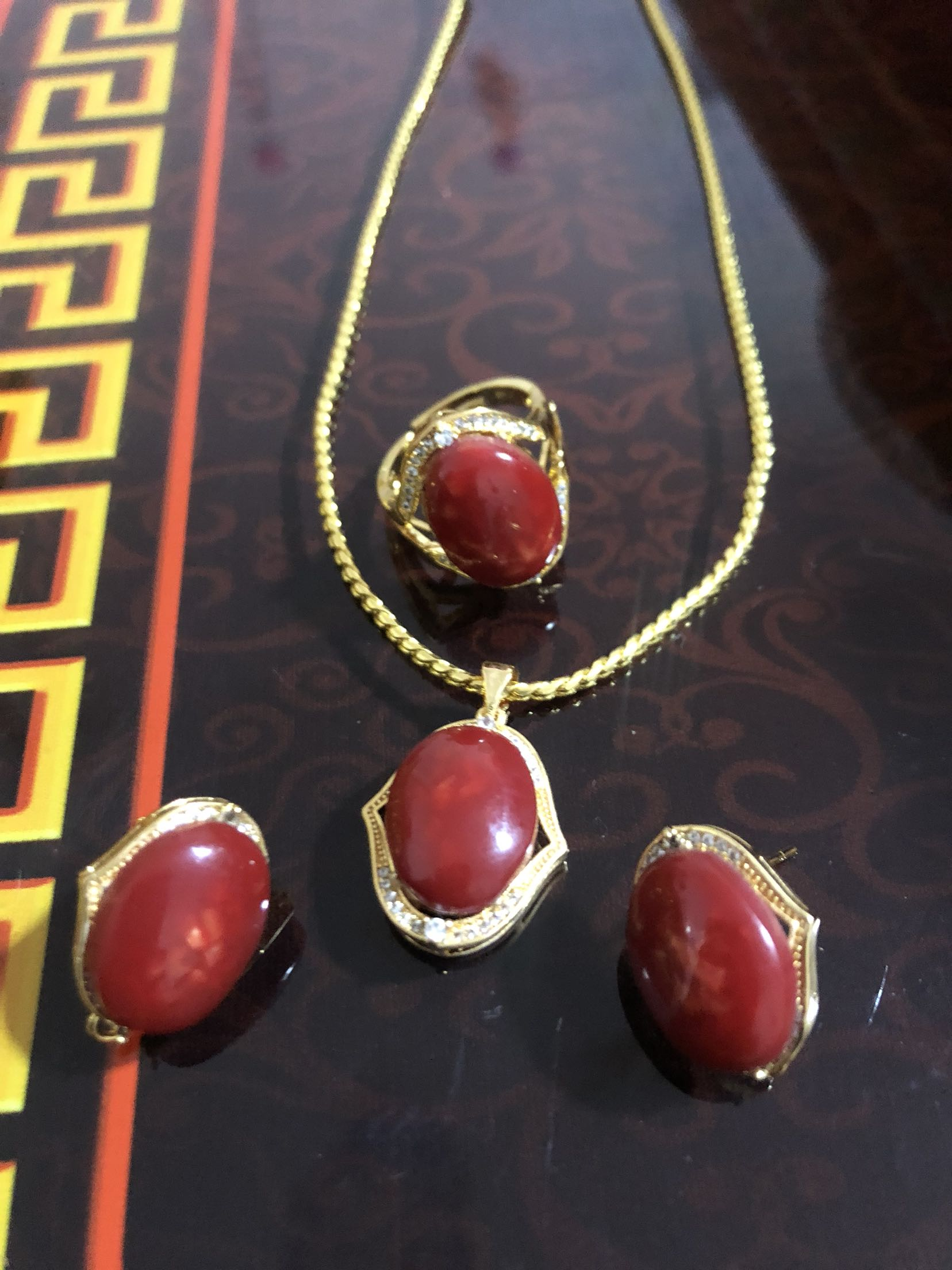 Tibetan net red coral powder earrings necklace ring pendant set Tibetan jewelry