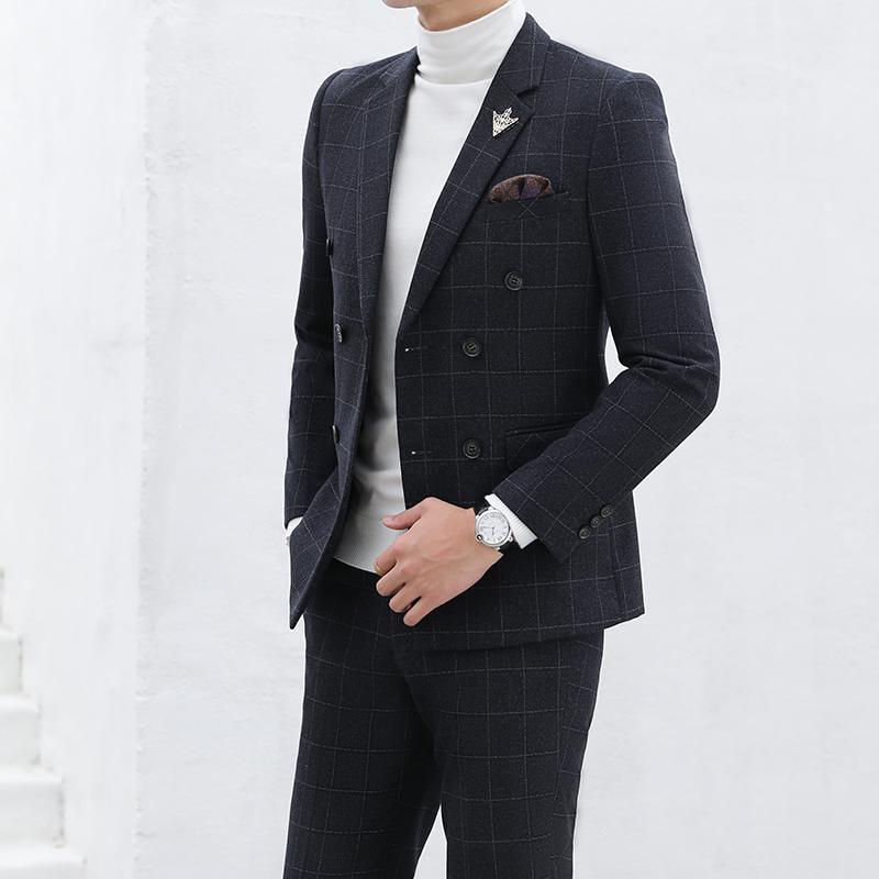 代购2019新款秋冬结婚西装男套装伴新郎韩版潮流双排扣西服三件套