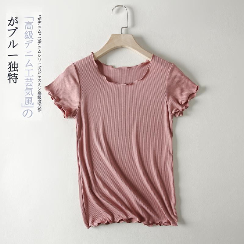 纯色T恤女夏修身百搭上衣薄款半袖莫代尔打底衫木耳边短袖针织衫图片