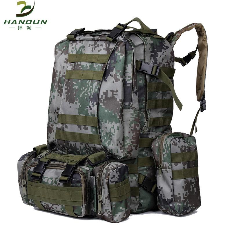 悍顿户外迷彩双肩战术组合包大容量迷彩包登山包男男背包旅行包