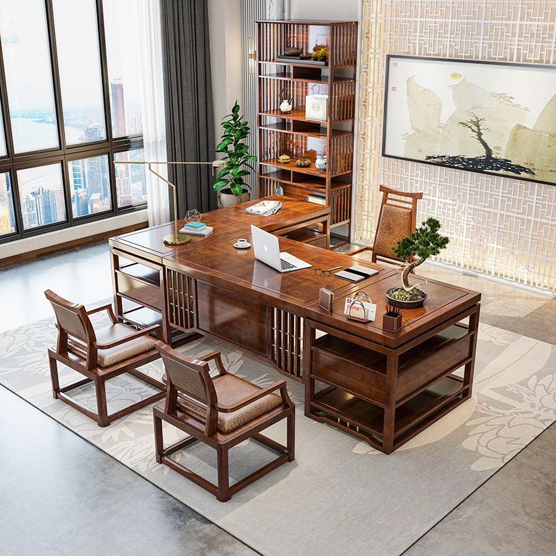 New Chinese style office desk and chair combination boss table president table simple large shift desk solid wood furniture of general managers Office
