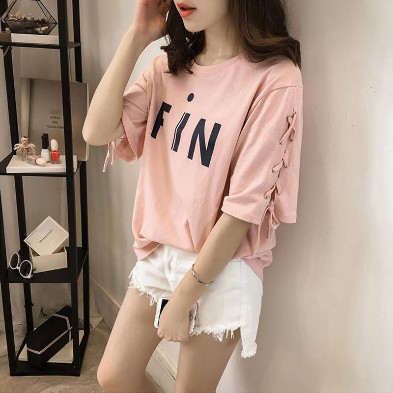 中國代購|中國批發-ibuy99|女裝|2020夏季新款女装t恤女韩版短袖ins潮大码宽松半袖字母印花上衣服