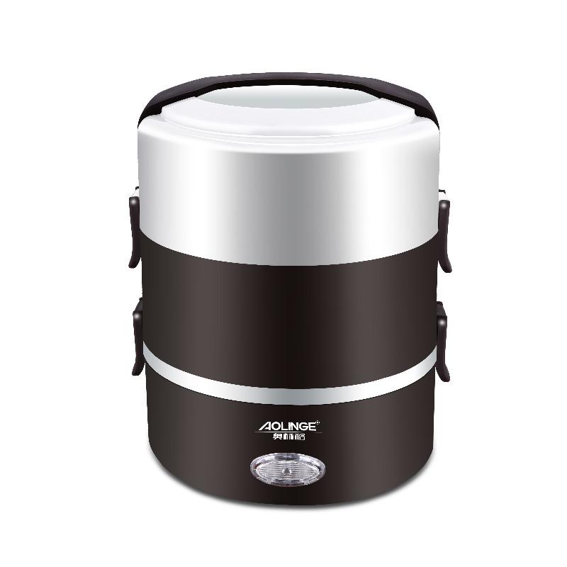 奧林格A~XFS3電熱飯盒三層可插電加熱保溫不鏽鋼便當盒蒸煮熱飯器