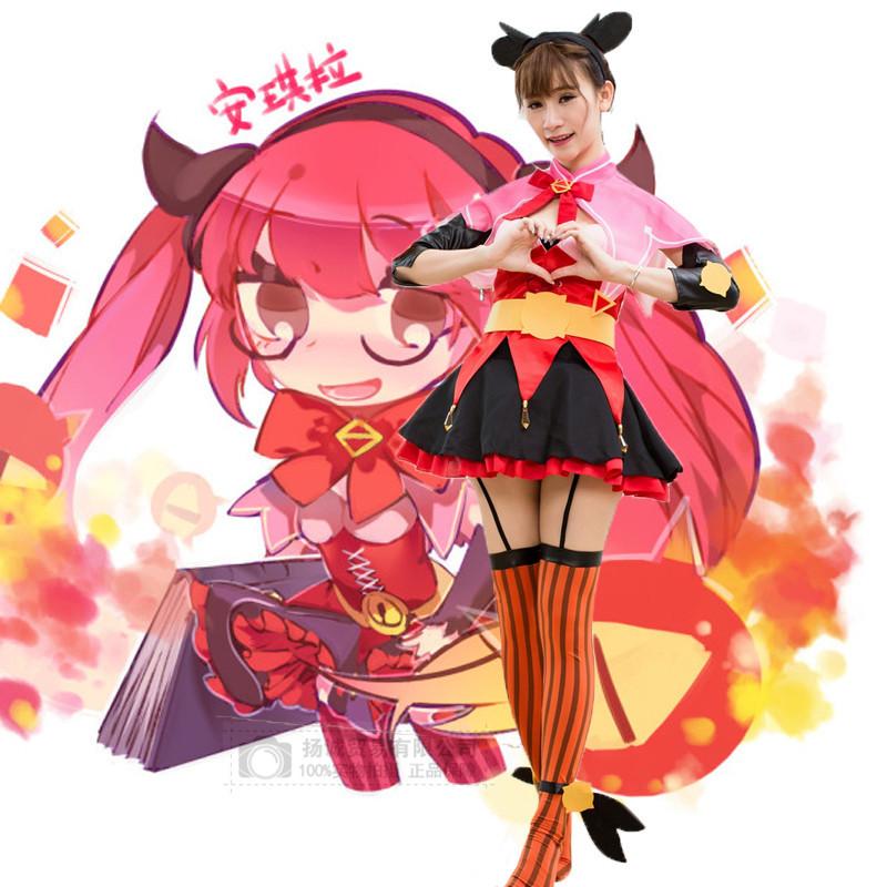 动漫游戏制服王者安琪拉Cosplay角色扮演服巫装小恶魔装手游女