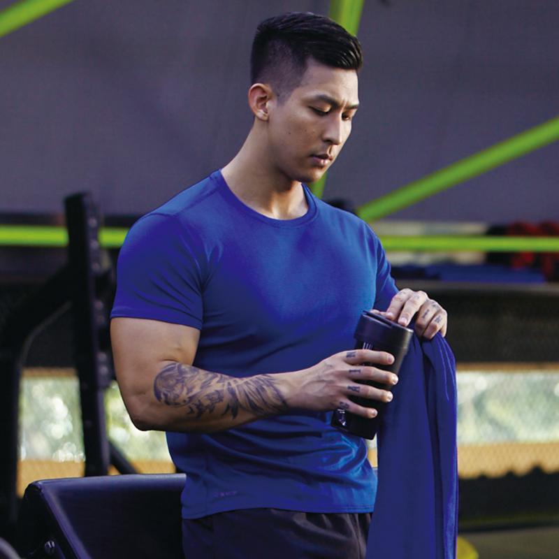 单导速干衣夏季新款男士时尚短袖t恤透气运动跑步排汗衫防臭衫