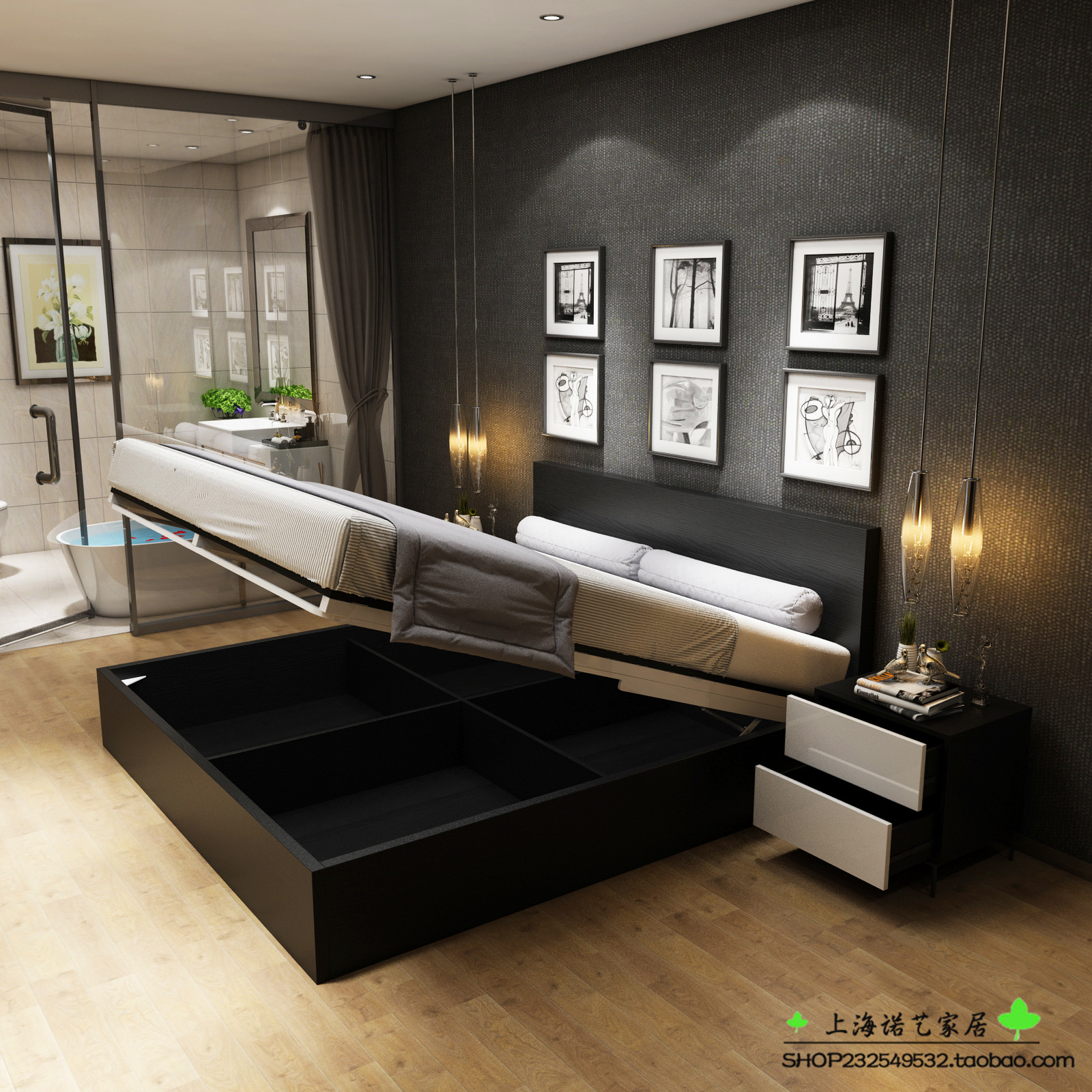Light luxury modern simple bed Nordic black oak bed bedroom storage bed customized high box storage bed double bed customized