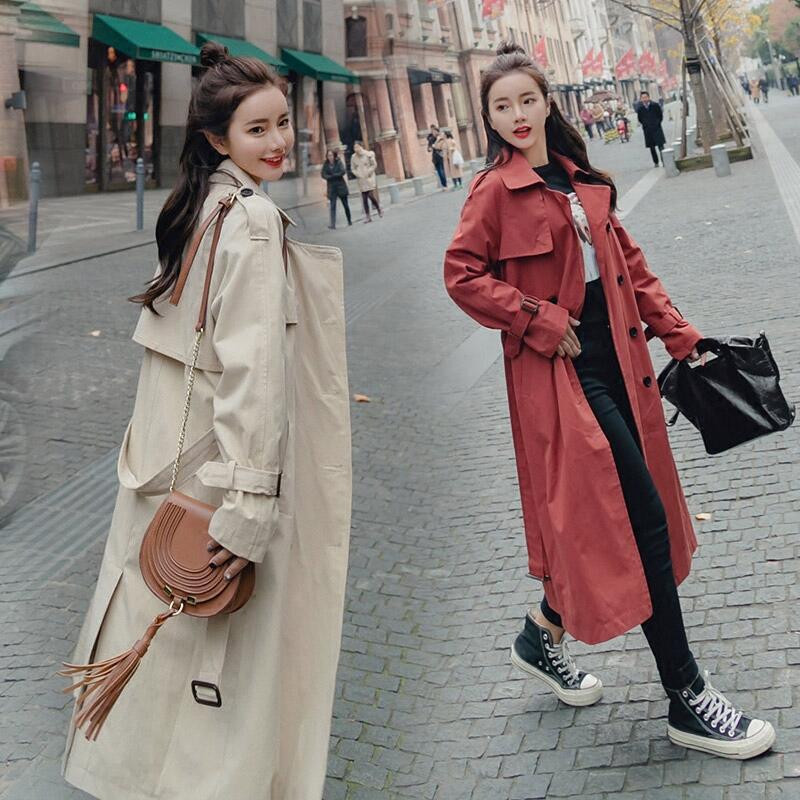 春秋季双排扣风衣女中长款韩版2018新款薄款长袖港风chic外套女装