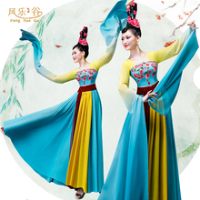 Classical Chinese Fengshui Sleeve Dance Dress Female Caiwei Dance Classical Dance Performance Dress Female Elegant Flowers Shocked Long Sleeves