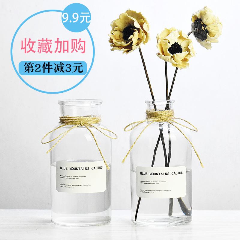 Континентальный простой прозрачное стекло ваза гидропоника цветочная композиция рабочий стол творческий украшение домой декоративный сухие цветы бутылка