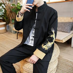 秋季棉麻青年套装男士中国风中山装