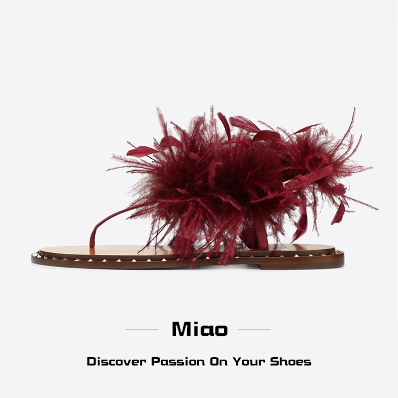 T-show flat bottom clip toe sandals womens fashion feather sandals European and American Leather beach ROMAN SANDALS