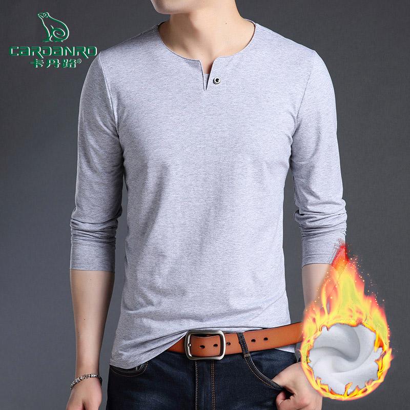 卡丹路长袖t恤男潮流韩版纯色v领休闲打底衫秋冬季加绒加厚上衣服