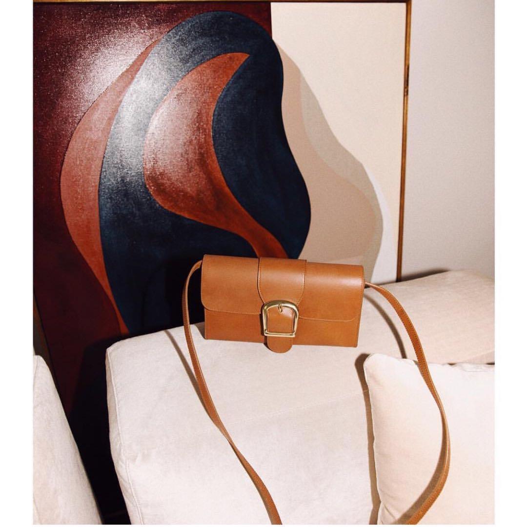 Australian niche designers customized cowhide stick bag ins WindNet red Doctor Bag retro one shoulder handbag