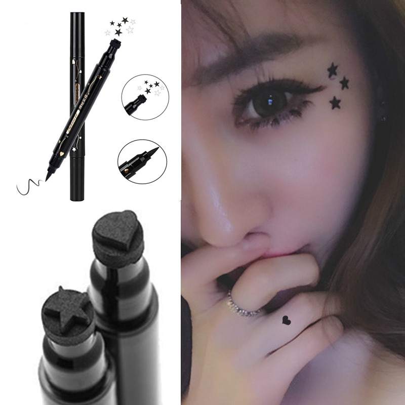Tattoo seal, star peach design, seal double head eyeliner, water brush, waterproof and anti sweat eyeliner.