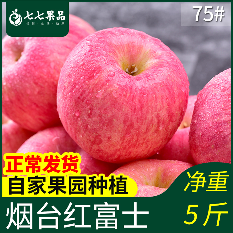 Shandong Yantai apple fruit Qixia Red Fuji pure natural fresh farmhouse 75 jins of fruits in the whole box of this season