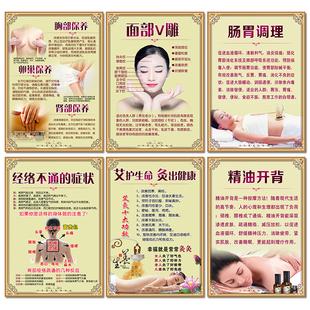 美容院裝飾畫養生會所牆壁掛畫美容店海報裝飾畫腸胃調理艾灸掛畫