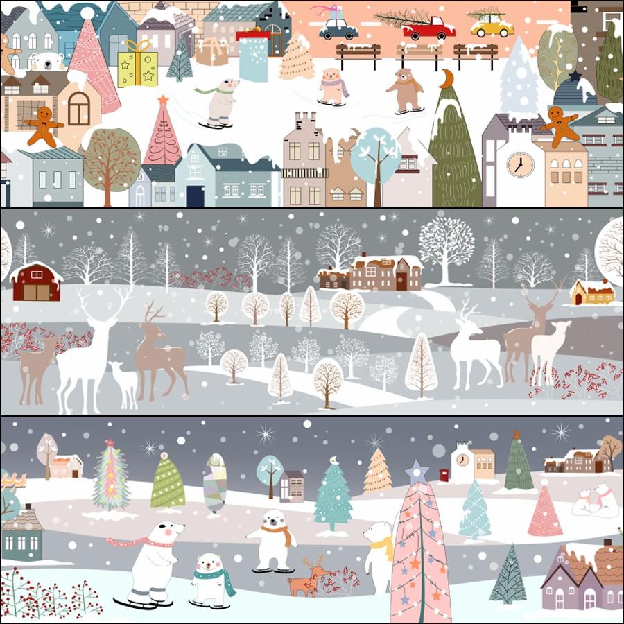 Material moose vector cartoon snow Christmas poster Snowman creative new design scene aiepsbanner
