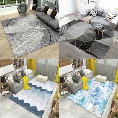 客厅地毯卧室北欧现代简约沙发茶几毯几何可机洗满铺家用床边地垫
