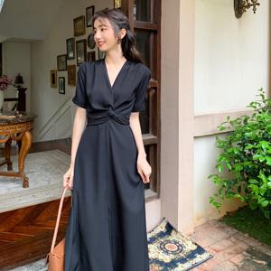 【今日新款】2020夏季中长款高腰开衩显瘦气质连衣裙女系带裙子