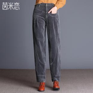 灯芯绒2019冬季新款加绒阔腿女裤